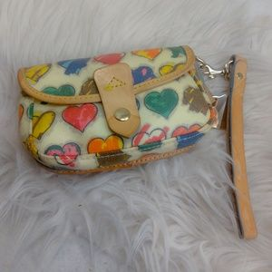 Authentic Dooney & Bourke heart wristlet purse